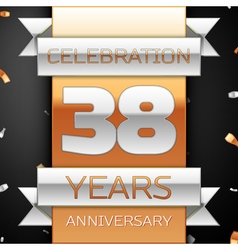 Thirty eight years anniversary celebration golden vector image vector image