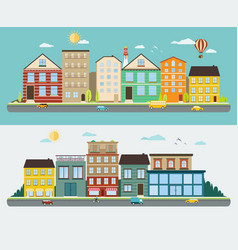 town streets in a flat design set of urban vector image vector image