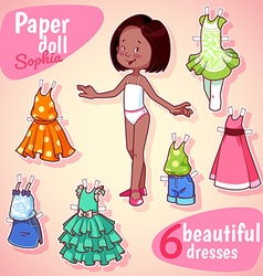 Very cute paper doll with six beautiful dresses vector
