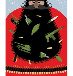 Villain Santa Claus Grandfather of terrorist with vector image