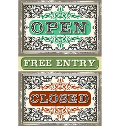 Vintage label set open closed free entry vector