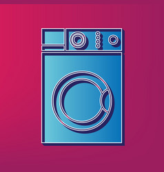 Washing machine sign blue 3d printed icon vector