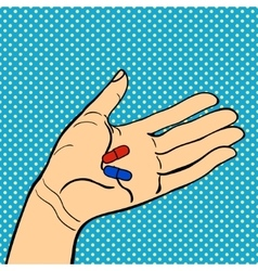 Human hand holding pills vector image