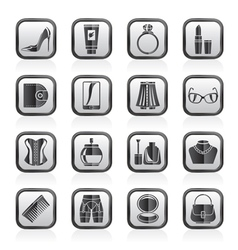 Female accessories and clothes icons vector