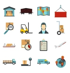 Logistic icons set flat style vector