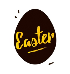 Happy easter black and gold greeting card vector