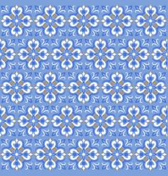 Tile print or ceramic texture seamless mosaic blue vector