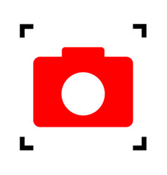 Digital camera sign  red icon inside black vector