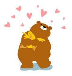 big bear cuddle duck cartoon character vector image