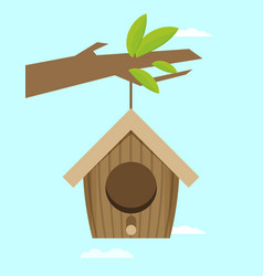 Bird house hanging of a branch flat design style vector
