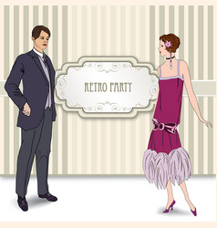 Retro fashion party card background man woman in vector