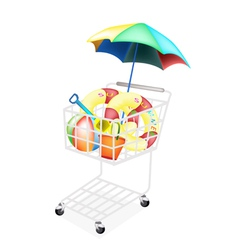 Beach items for summertime in shopping cart vector