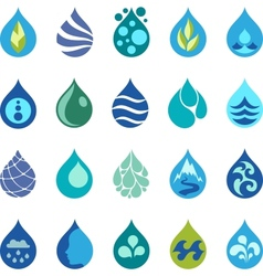 Water drop icons and design elements vector