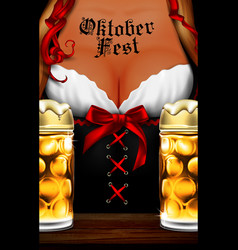 oktoberfest waitress womens festive decollete vector image