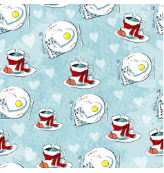 love seamless pattern of teacups and heart cookies vector image