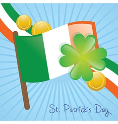 St patricks day ireland flag and elements vector