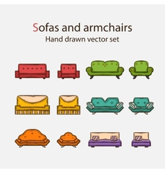 Icon set of sofas and armchairs vector
