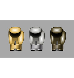 Boxing gloves set boxing gold bronze silver cup vector