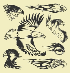 Eagle tatoo set vector