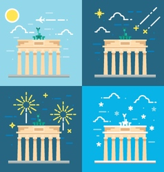 Flat design 4 styles of brandenburg gate berlin ge vector