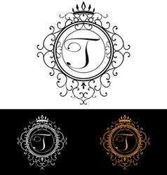 Letter t luxury logo template flourishes vector