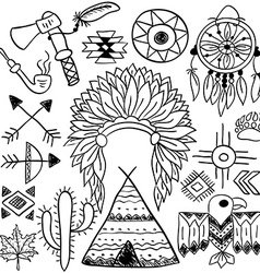 Hand drawn doodle native american symbols set vector