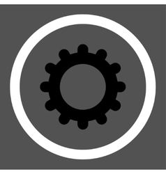 Gear flat black and white colors rounded vector