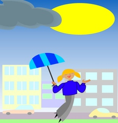 Girl with umbrella enjoys sun vector