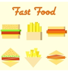 Fast food icons mono symbols vector