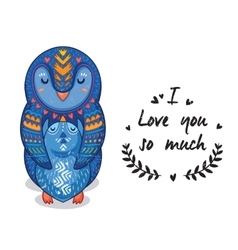 Cute penguins with text i love you so vector