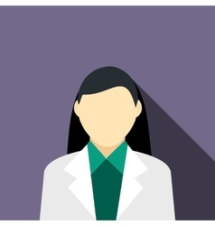 Girl brunette in a gray suit icon flat style vector