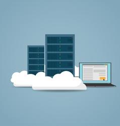 Cloud datacenter setting vector image
