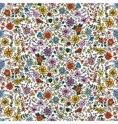 Colored seamless hand drawn patterns with flowers vector