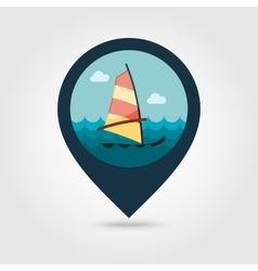 Board windsurfing pin map icon summer vacation vector