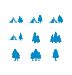 Set of tourist tent and forest icons vector