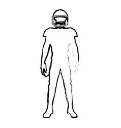 american footbal player quarterback helmet sketch vector image