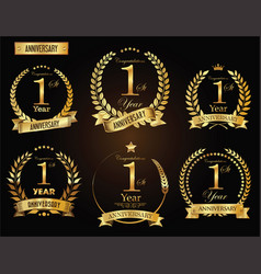 Anniversary golden laurel wreath 1 year vector