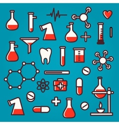 Background of scientific icons with reflection vector image vector image