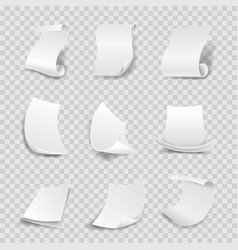 blank white paper sheets 3d rolls or curved vector image vector image