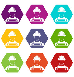 builder icon set color hexahedron vector image
