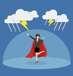 Business woman superhero with barrier protecting vector