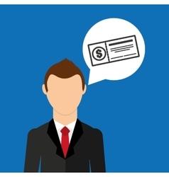 Cartoon business man check bank icon graphic vector