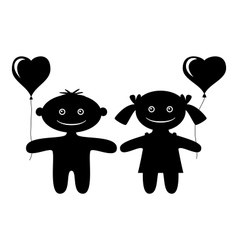 Children with heart balloons silhouette vector image vector image