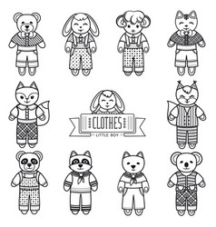childrens animals ornament kid cute pet vector image