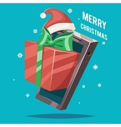 Christmas New Year Greating Gift Card Mobile Phone vector image