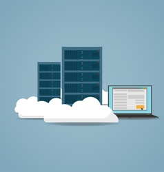 Cloud datacenter setting vector image