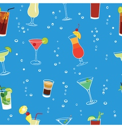 Cocktail party blue seamless pattern vector