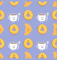 Coffee and croissant seamless pattern template vector