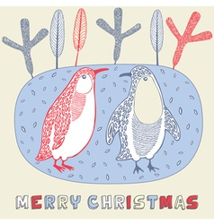Doodle Christmas Penguin Card vector image