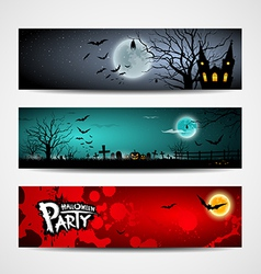 Happy Halloween day banner set design vector image vector image